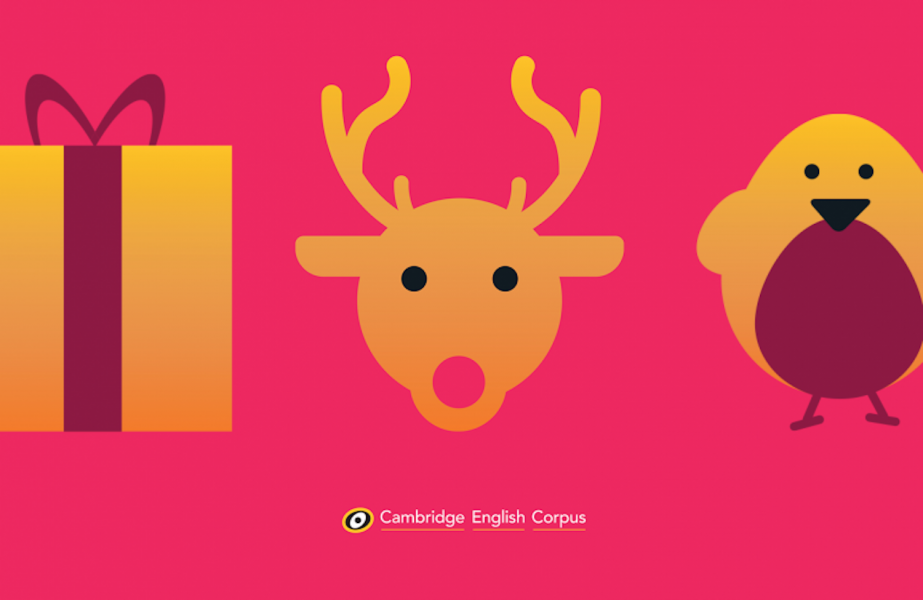 Cambridge corpus flashcard designs including reindeer robin and gift