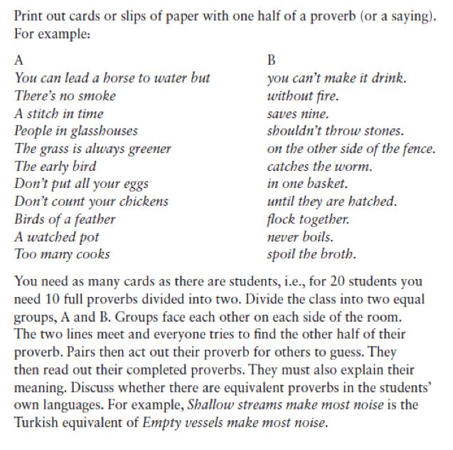proverbs classroom activity