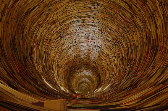 Tunnel constructed from books