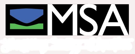 MSA logo with white text underneath