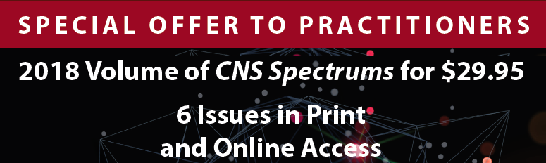 CNS Spectrums Practitioner discount