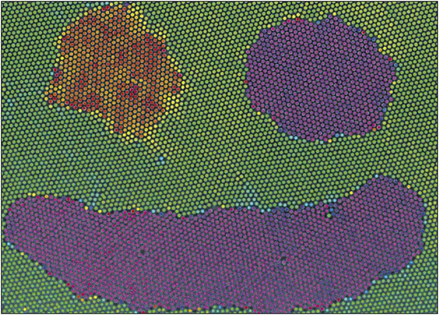 A smiley face experimentally fabricated using optical blasting. Particles are colored by the phase of the local orientational order parameter, showing grain orientation. Credit: Physical Review Letters