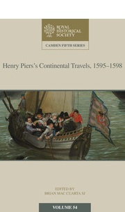HENRY PIERS'S CONTINENTAL TRAVELS, 1595–1598  cover image