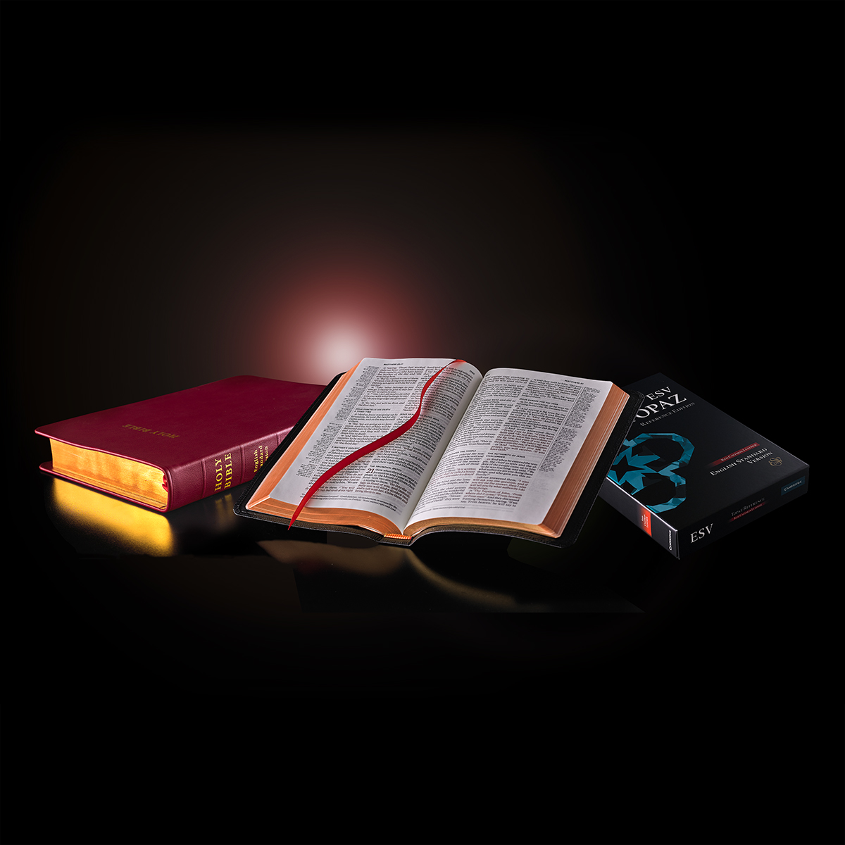 Bibles and box with red light