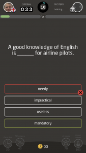 Quiz Your English app incorrect answer example