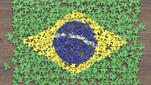 Brazil flag in puzzle pieces