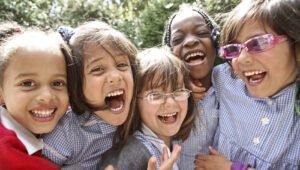 smiling schoolgirls