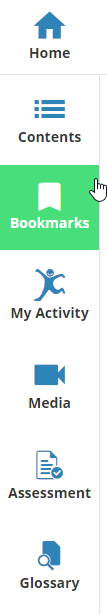 Side navigation bar showing Contents, My Activity, Media, Assessment and Glossary