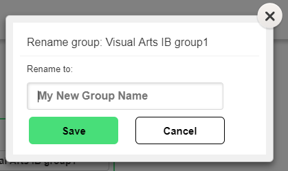 Change Group Name editing pop up