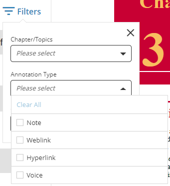 Options for filtering by annotation type – Note, Weblink, Hyperlink and Voice
