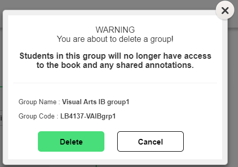 Delete group confirmation pop up box