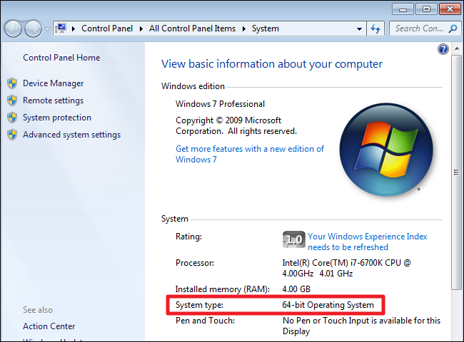 Windows 7 system check window