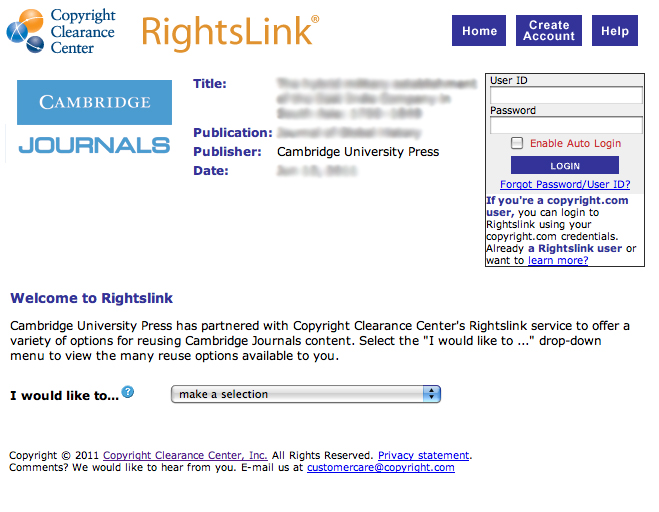 An image of the Rightslink® service on Cambridge Journals Online
