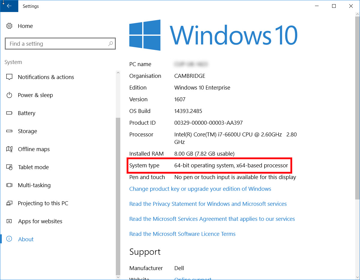 Windows 10 system check window