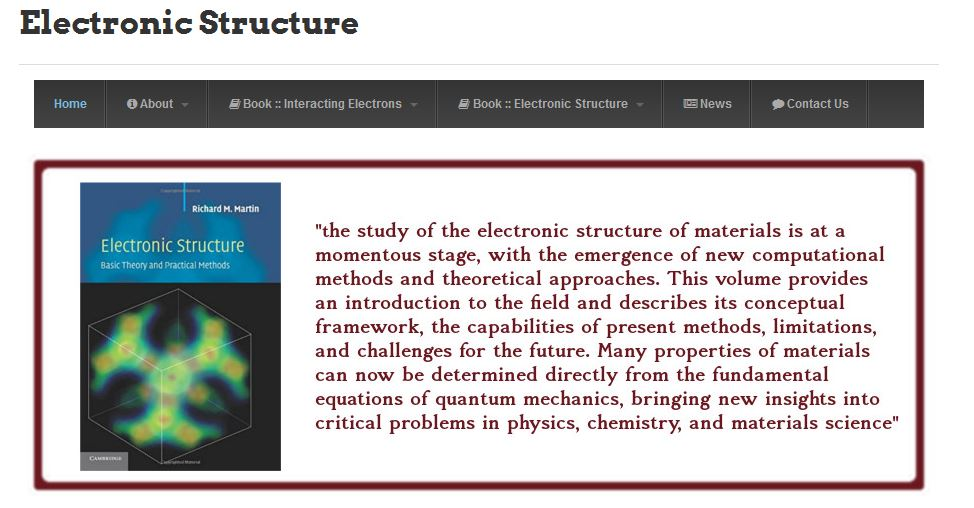 Electronic Structure website by Richard Martin