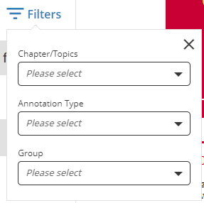 Options for filtering in My Activity – Chapter/topic, Annotation Type and Group