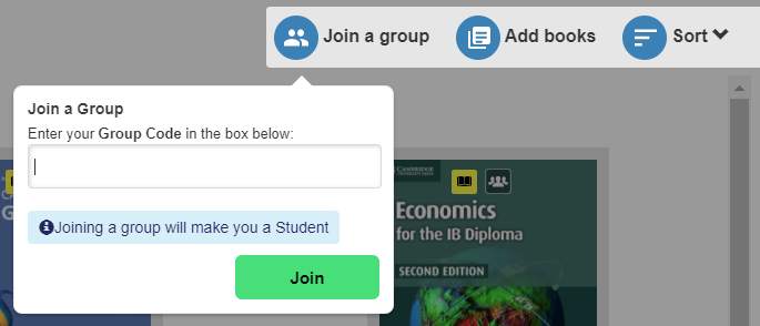 Join a group button and fill in box