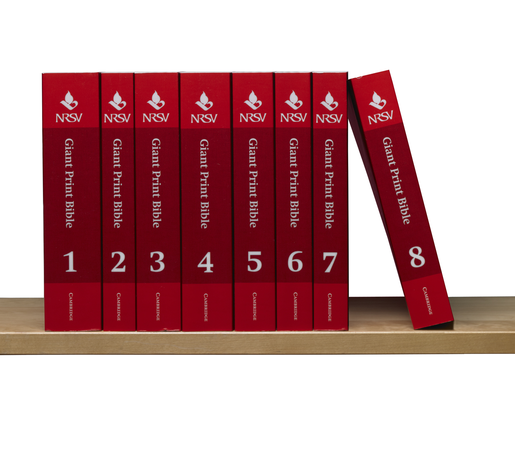 set of 8 red books constituting the NRSV Giant-Print Edition